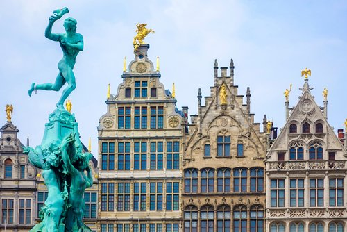 Barbo fountain, guild houses at Grote Markt square, Antwerp